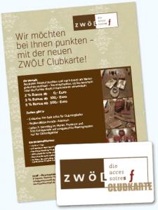 Kundenkarte und Infoflyer vom zwölf-Shop