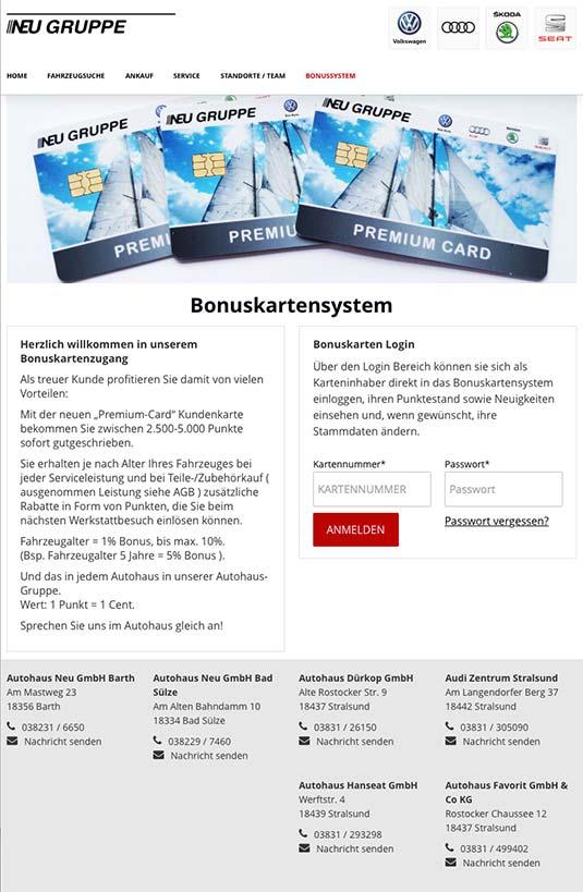 Die Kundenkarte auf der Website von VW-Autohaus Neu