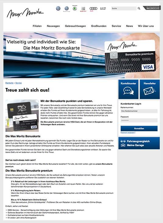 Die Kundenkarte auf der Website der Autohaus-Gruppe Weller