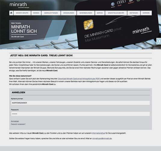 Die Kundenkarte/Bonuskarte auf der Website der Volkswagen Händlergruppe Minrath