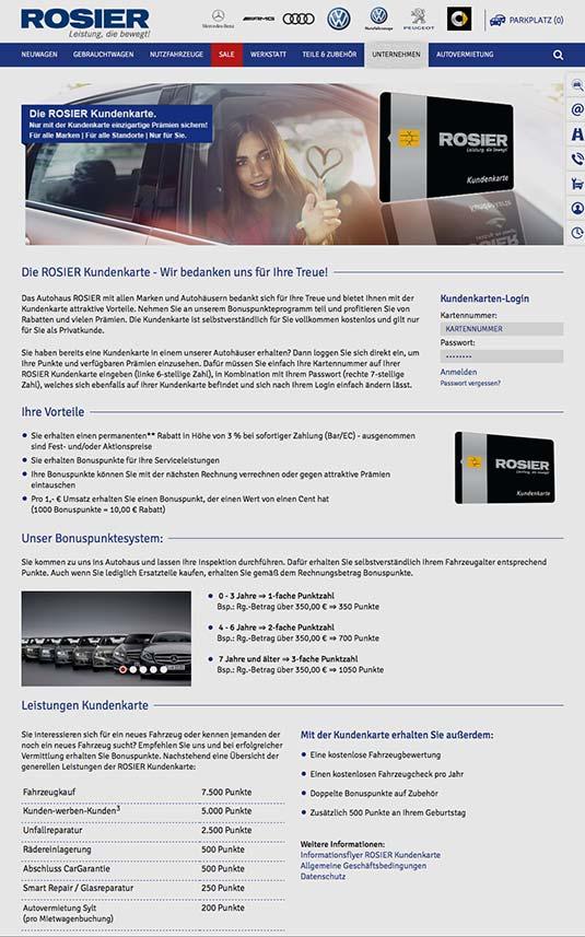 Die Kundenkarte auf der Website der Autohaus-Gruppe Rosier