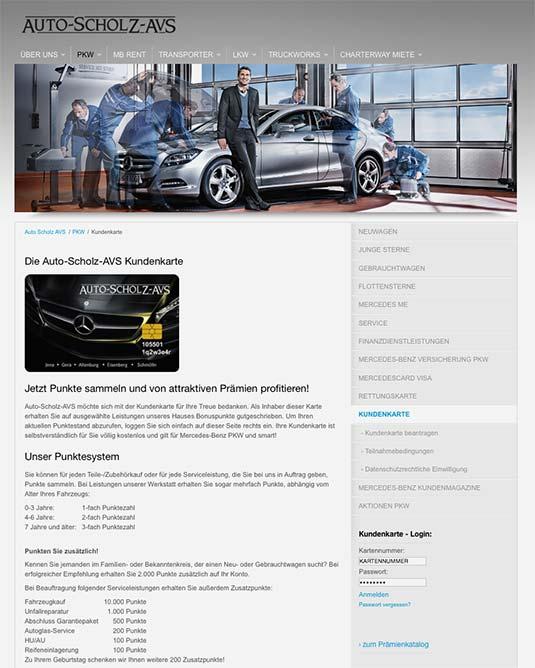 Die Kundenkarte auf der Website der Autohaus-Gruppe Scholz