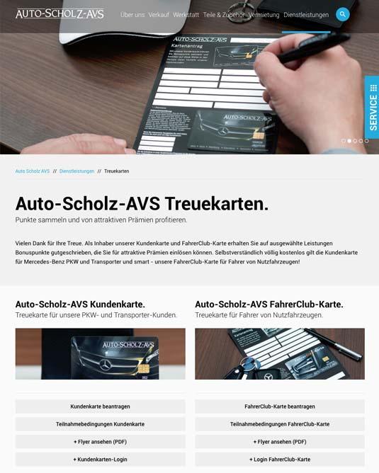 Die Kundenkarte Auto-Scholz auf der Website der Aufohausgruppe