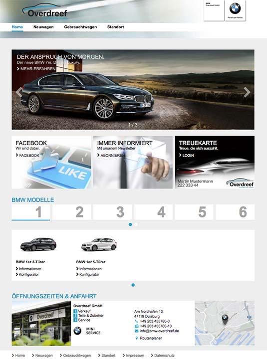 Die Kundenkarte auf der Website von BMW Autohaus Overdreef