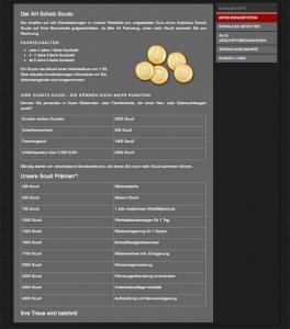 Die Bonusstaffel auf der Website von Autohaus Scholz