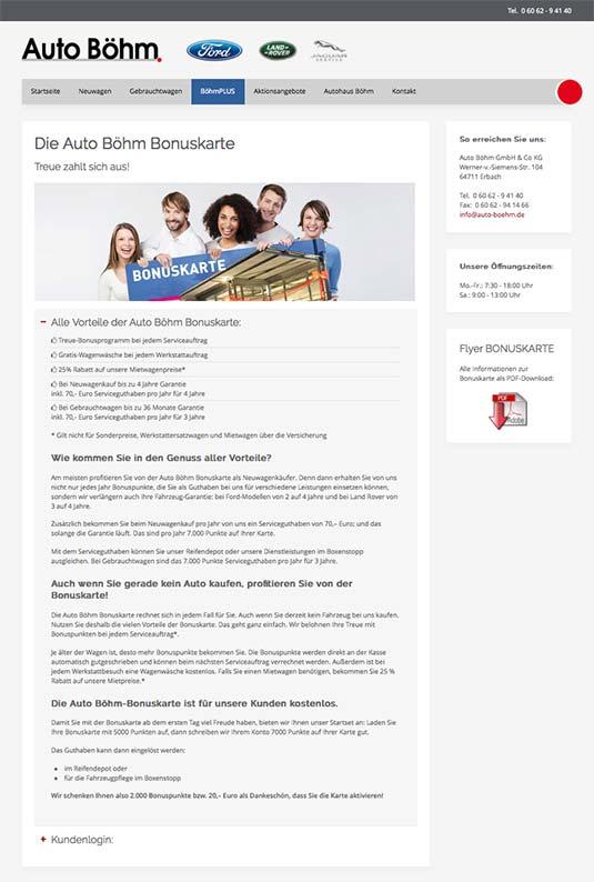 Die Kundenkarte auf der Website von Ford Autohaus Böhm