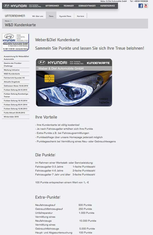 Die Kundenkarte auf der Website von Autohaus Hyundai Weber & Diel