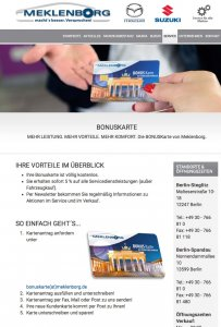 Die Kundenkarte auf der Website von Mazda Autohaus Meklenborg