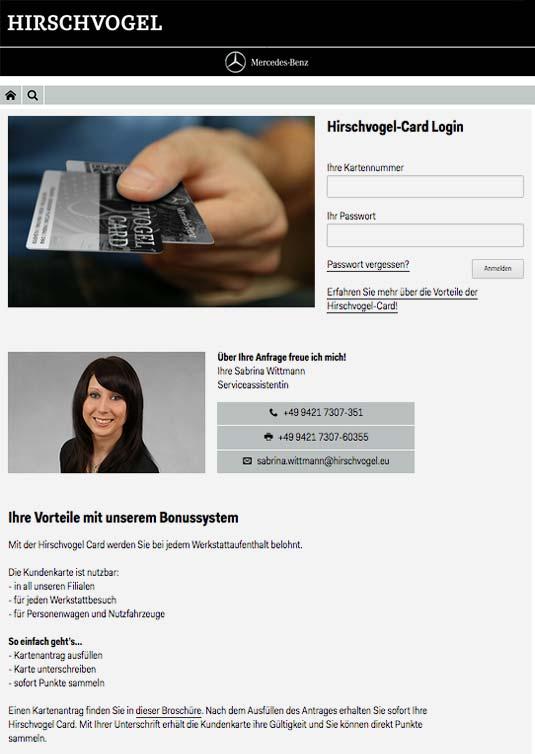 Die Kundenkarte/Bonuskarte auf der Website von Mercedes Autohaus Hirschvogel