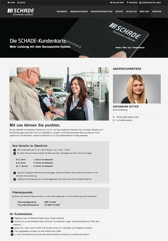 Die Kundenkarte auf der Website von Mercedes Autohaus Schade