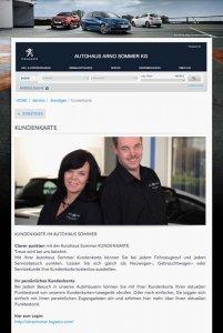 Die Kundenkarte auf der Website von Autohaus Sommer