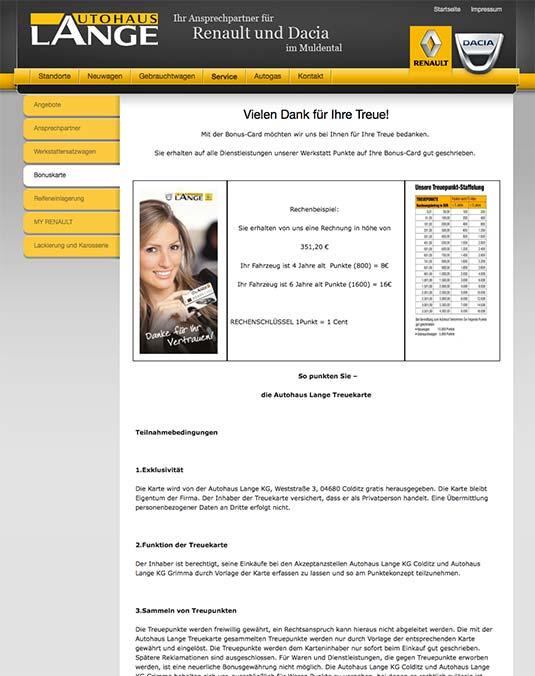 Die Kundenkarte auf der Website von Renault-Autohaus Lange