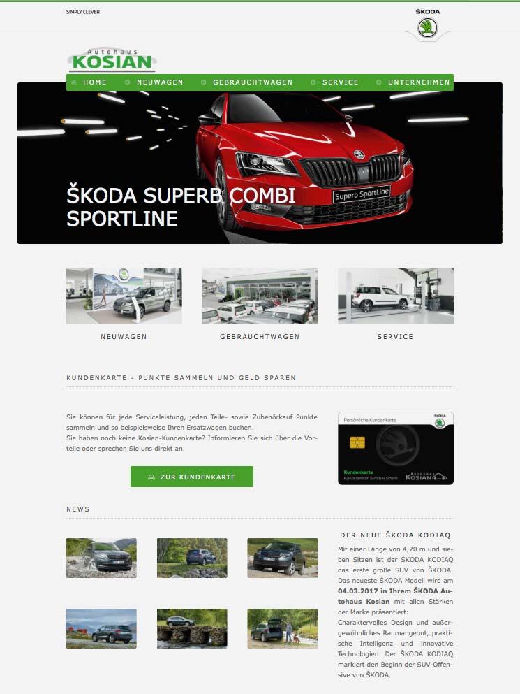 Die Kundenkarte auf der Website von Skoda Autohaus Kosian