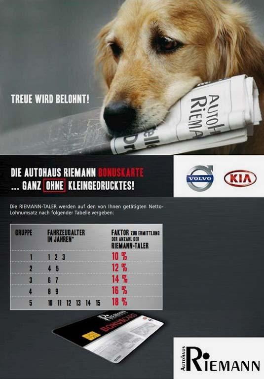 Der Kundenkarten-Flyer im Volvo Autohaus Riemann