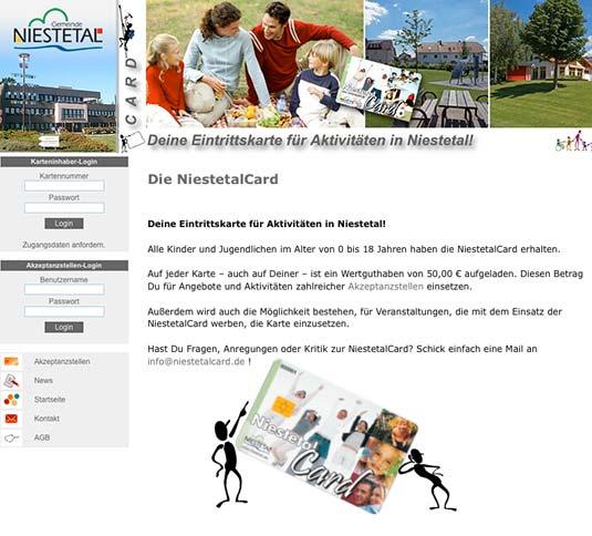 Die Bildungskarte auf der Website von Niesetal