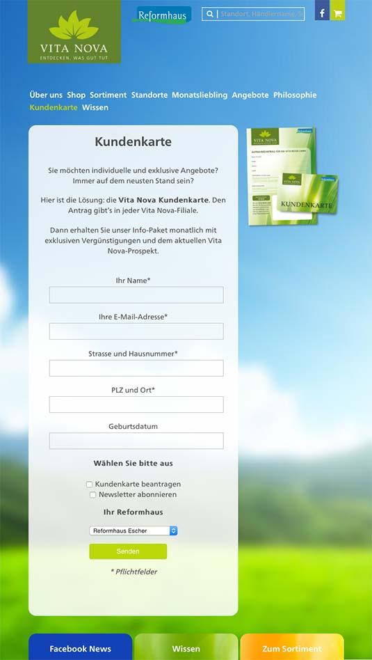 Die Kundenkarte/Bonuskarte auf der Website von Vita Nova