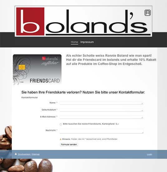 Die Kundenkarte auf der Website von Cafe Boland´s
