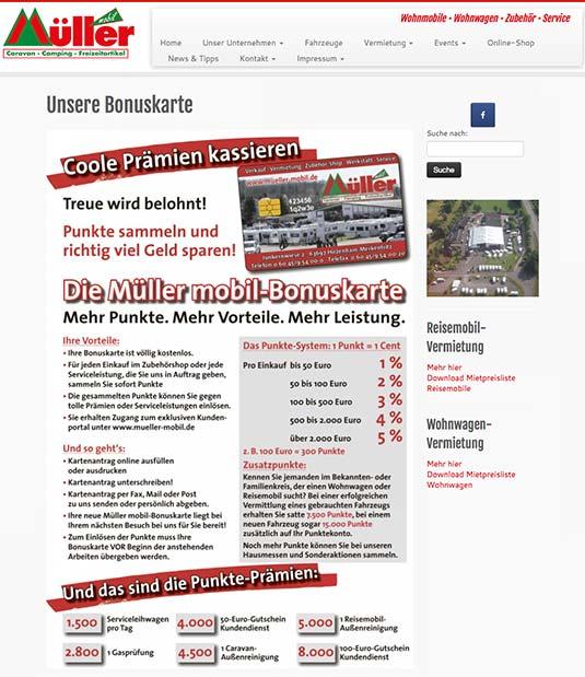 Die Bonuskarte auf der Website von Müller mobil