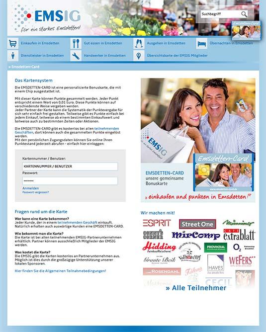 Die CityCard/Bonuskarten-Website von Emsdetten