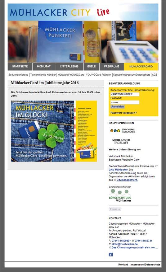 Die CityCard/Bonuskarten-Website von Mühlacker