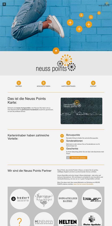 Die CityCard/Kundenkarten-Website von Neuss