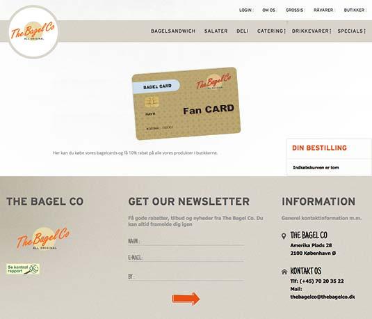 Die Kundenkarte auf der Website von The Bagel Co