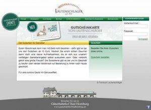 Die Gutscheinkarte auf der Website von Feinkost Lautenschläger
