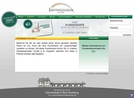 Die Kundenkarte auf der Website von Feinkost Lautenschläger