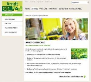 Die Kundenkarte auf der Website von Gartencenter Arndt