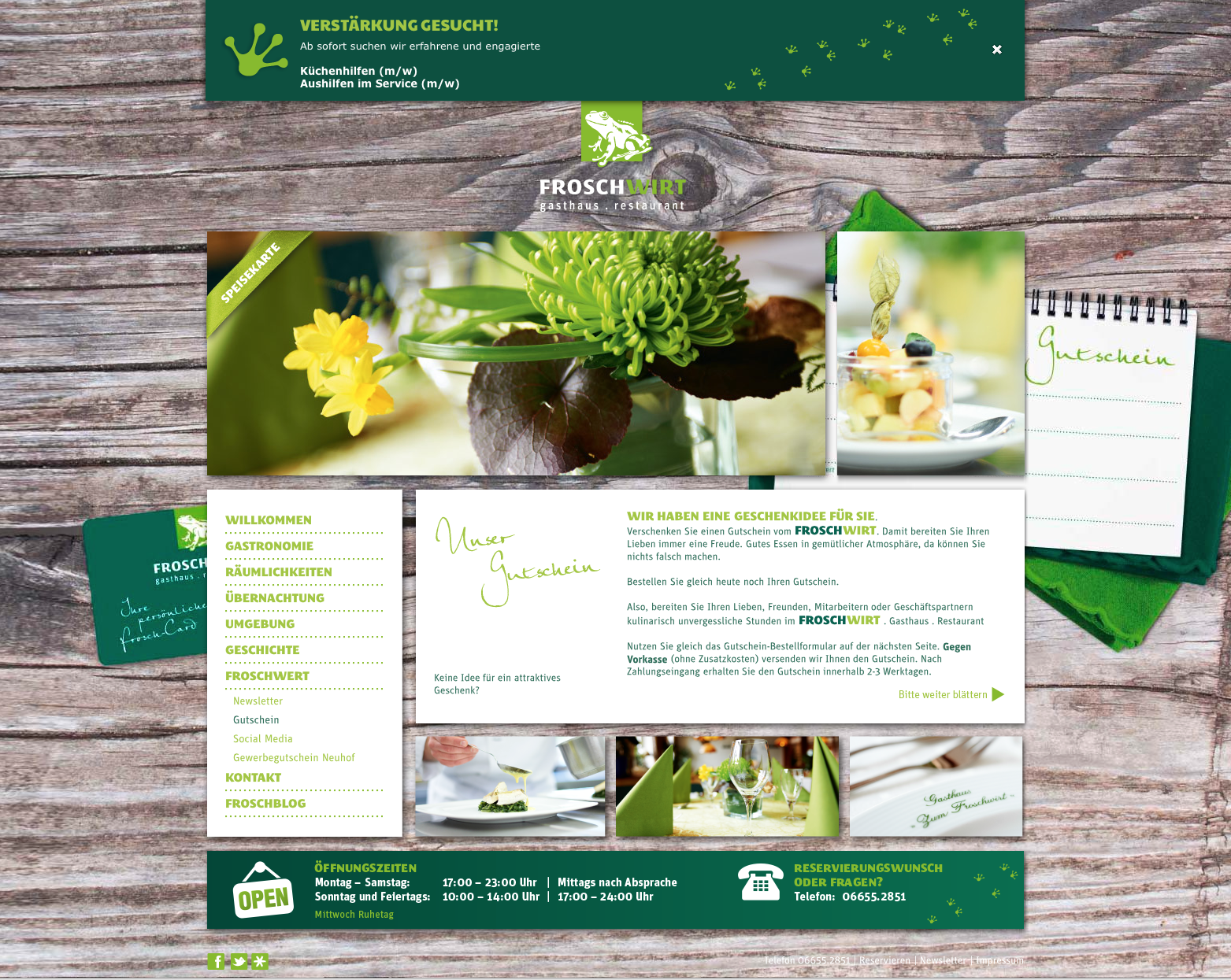 Die Kundenkarte auf der Website vom FROSCHWIRT