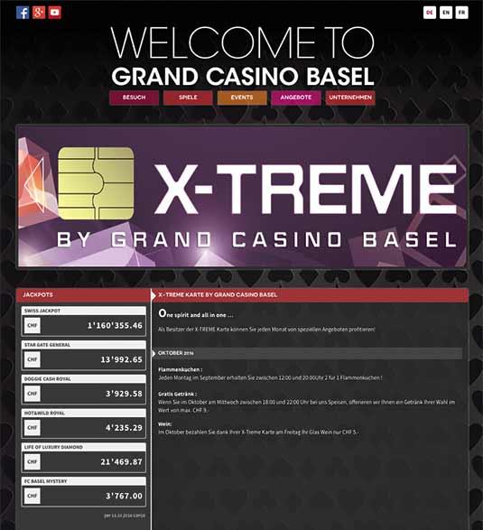 Die Webseite der X-Treme Card
