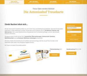 Die Kundenkarte/Bonuskarte auf der Website von Hotel Antoniushof