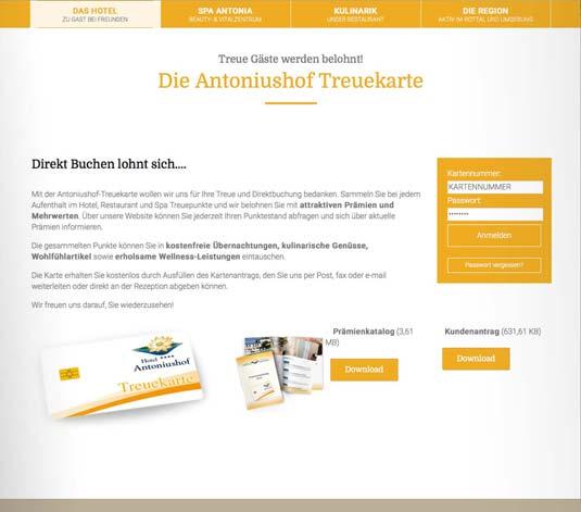 Die Kundenkarte auf der Website von Hotel Antoniushof