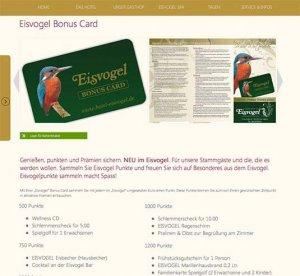 Die Eisvogel-Card-Seite mit Bonusstaffel