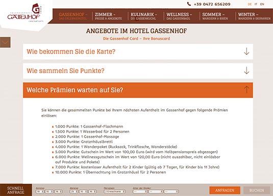 So bewirbt das Hotel Gassenhof die Kundenkarten/Bonuskarten