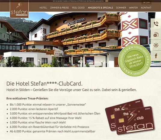 Die Kundenkarte auf der Website vom Hotel Stefan