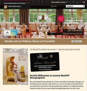 Die Kundenkarte/Bonuskarte auf der Website vom Hotel zum Kurfürsten