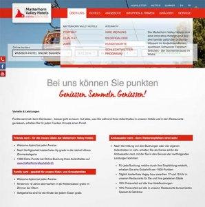 Die Kundenkarte auf der Website der Matterhorn Valley Hotels