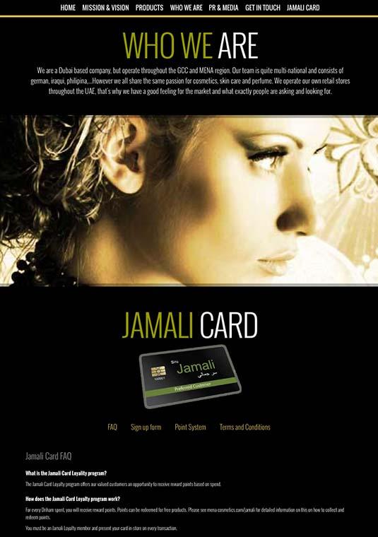 Die Kundenkarte auf der Website vom Kosmetik-Shop Jamali