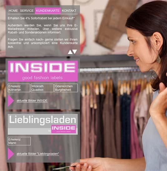 Die Kundenkarte im Web von Modehaus Inside