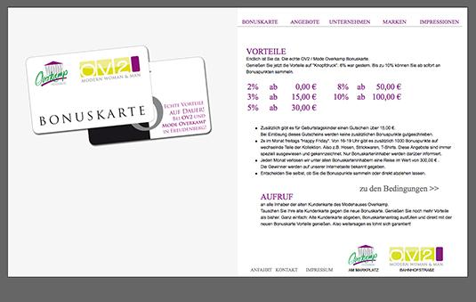 Bonusstaffel auf der Website von Modehaus Overkamp