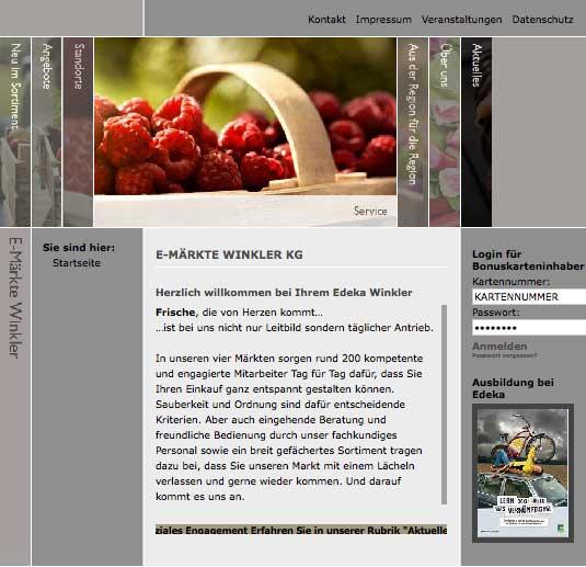 Die Kundenkarte auf der Website EDEKA Winkler