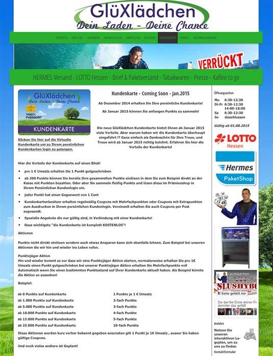 Die Kundenkarte auf der Website vom Lotto-Shop GlüXlädchen