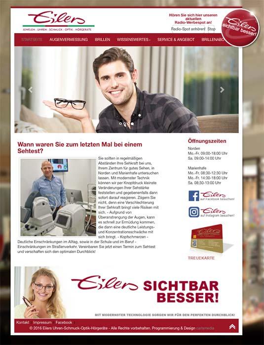 Die Kundenkarte auf der Website von Optik Eilers