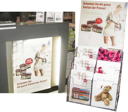 POS-Werbung für Presse-Geschenkkarten