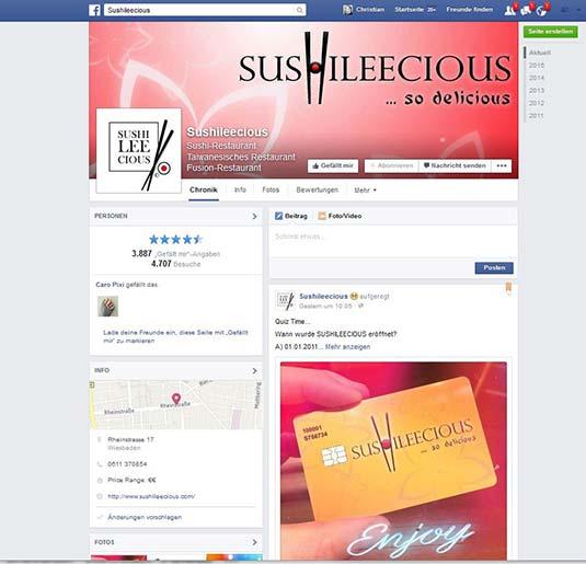 Die Kundenkarte/Bonuskarte im Facebook-Auftritt vom Restaurant SushiLeeCious