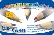 Die Kundenkarte im Schreibwaren-Laden Papeterie