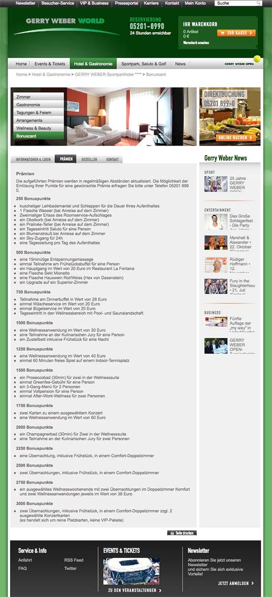 Die Kundenkarte auf der Website von Sporthotel Gerry Weber