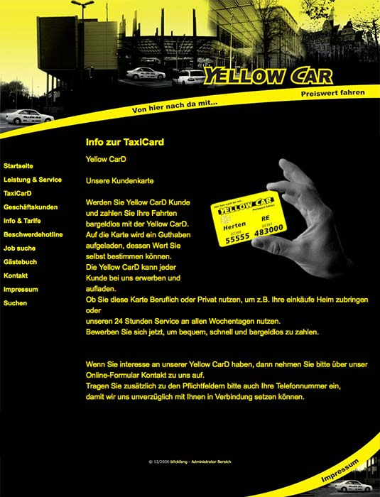 Die Kundenkarte auf der Website von Taxi Gerdes