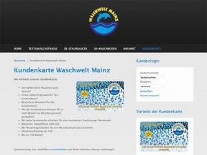 Die Website der Waschstraße Waschwelt mainz mit Kundenkarte/Bonuskarte
